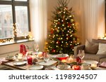 christmas  holidays and eating... | Shutterstock . vector #1198924507