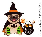 halloween pug dog vector... | Shutterstock .eps vector #1198937017