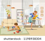 working mother concept. busy... | Shutterstock .eps vector #1198938304