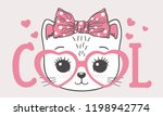 Stock vector cute cat girl face with pink heart glasses cool slogan vector illustration for children print 1198942774