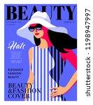 fashion girl wearing striped... | Shutterstock .eps vector #1198947997