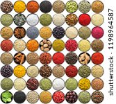 set of indian spices and herbs... | Shutterstock . vector #1198964587