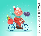 santa funny pig ride bicycle... | Shutterstock .eps vector #1198967041