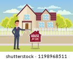 house for sale. man broker and...   Shutterstock .eps vector #1198968511