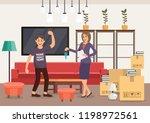 housewarming in new apartment.... | Shutterstock .eps vector #1198972561