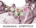 3d wallpaper with bouquet and... | Shutterstock . vector #1198975114
