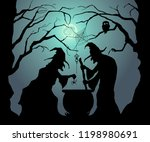happy halloween. witches brew a ... | Shutterstock .eps vector #1198980691