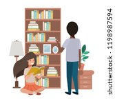 couple in the library avatar... | Shutterstock .eps vector #1198987594