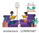 young couple afro in the... | Shutterstock .eps vector #1198987687