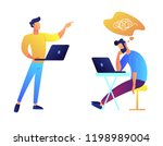 programmers working together... | Shutterstock .eps vector #1198989004