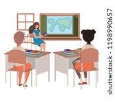 teacher in classroom with... | Shutterstock .eps vector #1198990657