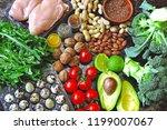 ketogenic diet concept. a set... | Shutterstock . vector #1199007067