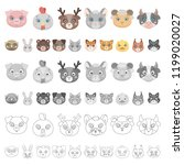 muzzles of animals cartoon...   Shutterstock .eps vector #1199020027