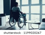 disabled person sits in... | Shutterstock . vector #1199020267