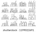 factory building line style set.... | Shutterstock .eps vector #1199022691