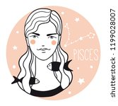 pisces girl. sketch style woman ... | Shutterstock .eps vector #1199028007