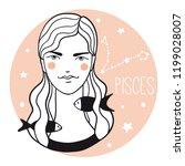 pisces girl. sketch style woman ... | Shutterstock .eps vector #1199028007