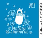 christmas card with funny pig ... | Shutterstock .eps vector #1199030884