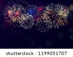 colorful fireworks vector on... | Shutterstock .eps vector #1199051707