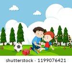 boy injured from football... | Shutterstock .eps vector #1199076421