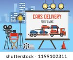 cars delivery for filming... | Shutterstock .eps vector #1199102311