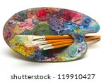 pallette with brushes on a... | Shutterstock . vector #119910427