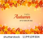 autumn background with colorful ... | Shutterstock .eps vector #1199109304