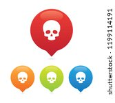 colorful round skull markers