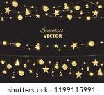 christmas golden decoration on...   Shutterstock .eps vector #1199115991