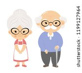the cartoon grandmother and... | Shutterstock .eps vector #1199127964