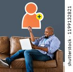 man showing friend request icon ... | Shutterstock . vector #1199132821