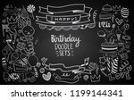 happy birthday background. hand ... | Shutterstock .eps vector #1199144341