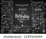 happy birthday background. hand ... | Shutterstock .eps vector #1199144344