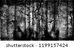 spooky forest with flying birds ... | Shutterstock . vector #1199157424