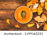 autumn table for thanksgiving... | Shutterstock . vector #1199165251