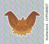 halloween bat smiley head got... | Shutterstock .eps vector #1199180827