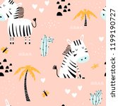 Stock vector kids seamless pattern with cute zebras palm trees and cacti on a pink background funny vector 1199190727