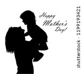 silhouette of mother with her... | Shutterstock .eps vector #1199193421