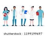 doctors and nurses standing and ... | Shutterstock .eps vector #1199199697