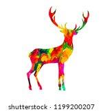 abstract colored deer. vector | Shutterstock .eps vector #1199200207