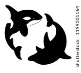 silhouettes killer whales and... | Shutterstock .eps vector #1199201164