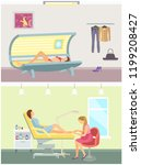 tanning in salon and pedicure... | Shutterstock .eps vector #1199208427