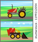 loader and tractor on field... | Shutterstock .eps vector #1199212054