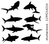 set of silhouettes sharks on a... | Shutterstock . vector #1199214214
