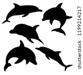 dolphins for design and tattoo... | Shutterstock . vector #1199214217