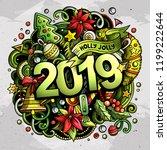 2019 hand drawn doodles... | Shutterstock .eps vector #1199222644