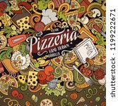 cartoon vector doodles pizza... | Shutterstock .eps vector #1199222671