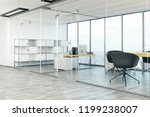 gray office interior with... | Shutterstock . vector #1199238007