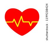 heart beat symbol icon. simple... | Shutterstock .eps vector #1199238424