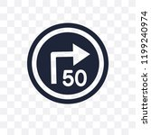 turn with advisory  speed sign... | Shutterstock .eps vector #1199240974